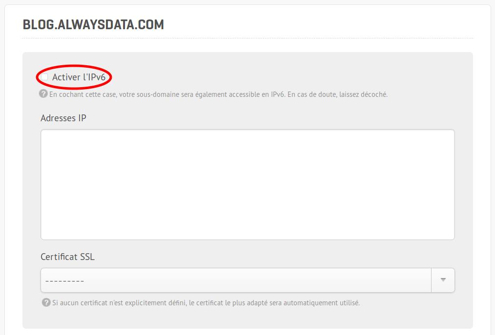 Activer l'IPv6 sur un sous-domaine, capture d'écran