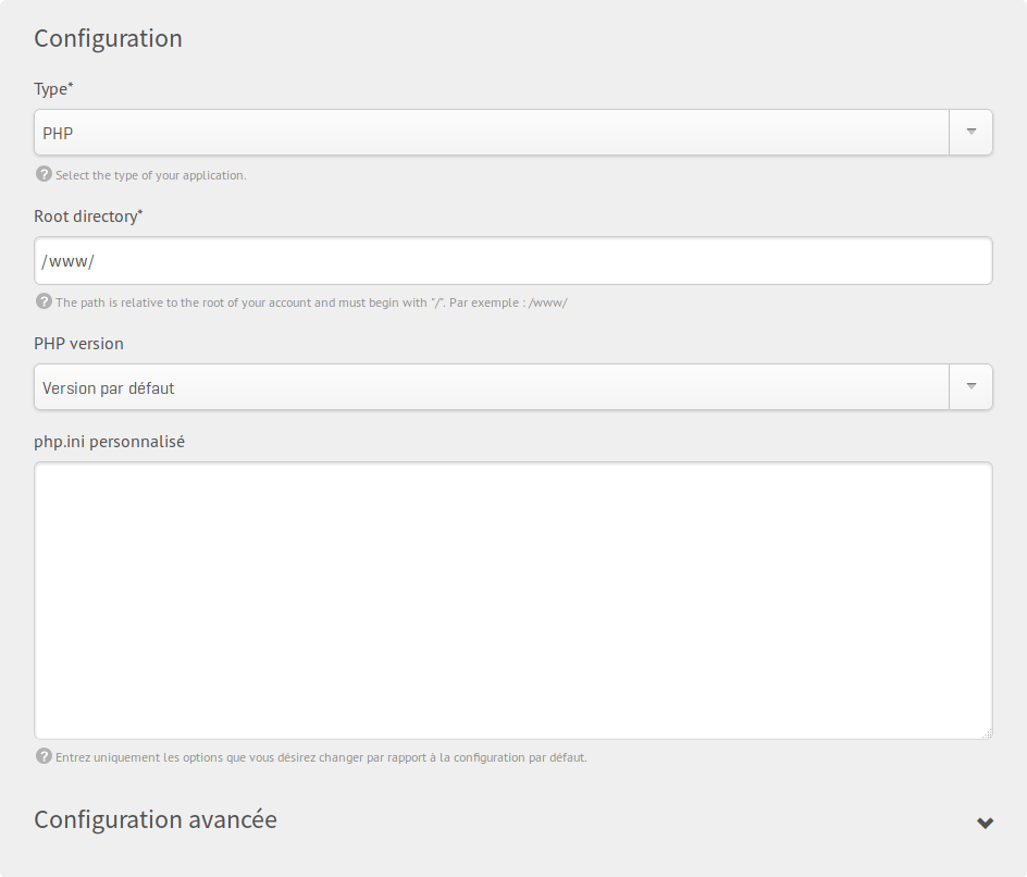 PHP website type - Settings form screenshot