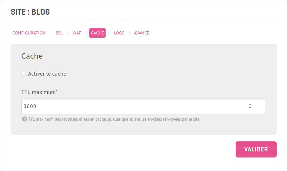 Capture d'écran de l'interface d'administration pourla configuration du cache HTTP par site