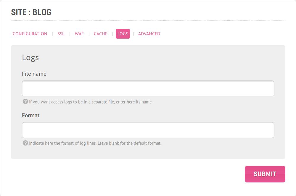 Screenshot of website's logs customization view