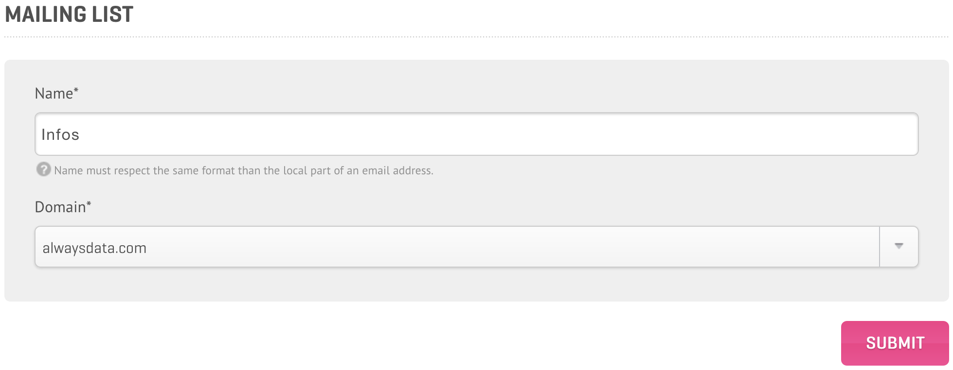 Administration Panel: Create a new Mailing List