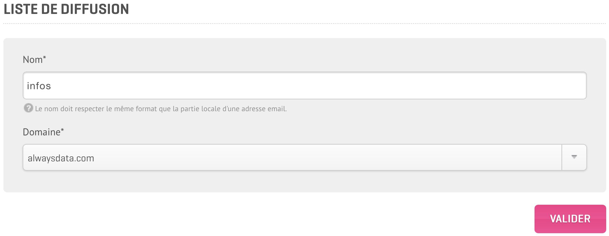 Interface d'administration : Créer une liste de diffusion